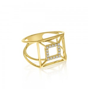 14K Yellow Gold Square Geometric Diamond Fashion Ring