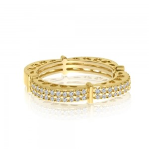 14K Yellow Gold Half Diamond Wave Fashion Ring