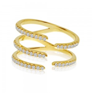 14K Yellow Gold 5 Row Diamond Claw Fashion Ring