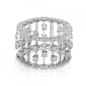14K White Gold Wide Diamond Flexible Band Carousel Ring