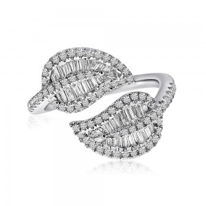 14K White Gold Baguette Diamonds Double Leaf Ring