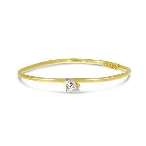 14K Yellow Gold Dashing Diamond Pierced Diamond Wire Ring
