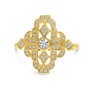 14K Yellow Gold Art Deco Diamond Ring