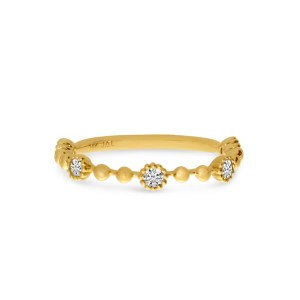 14K Yellow Gold Diamond Ball Stackable Ring