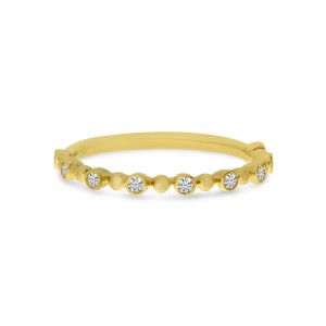 14K Yellow Gold Diamond Beaded Stackable Ring