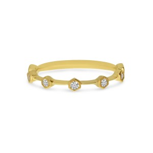 14K Yellow Gold Diamond Hexagon Stackable Ring