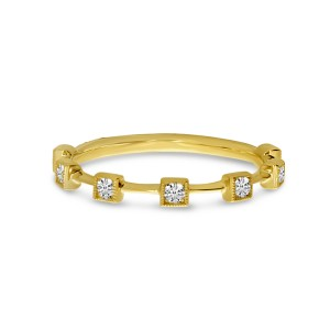 14K Yellow Gold Diamond Square Stackable Ring