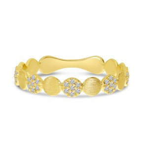 14K Yellow Gold Diamond and Gold Brushed Bubble Ring