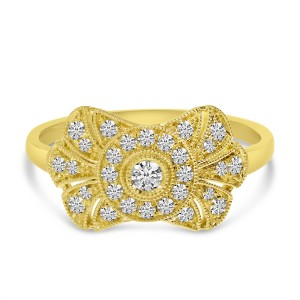 14K Yellow Gold East West Diamond Art Deco Ring