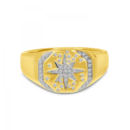 14K Yellow Gold Diamond Starburst Signet Ring