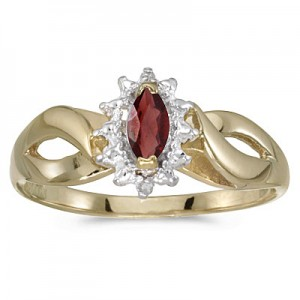 10k Yellow Gold Marquise Garnet And Diamond Ring