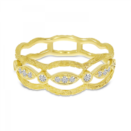 14K Yellow Gold Brushed Diamond Band