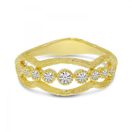 14K Yellow Gold Diamond Bezel Brushed Band
