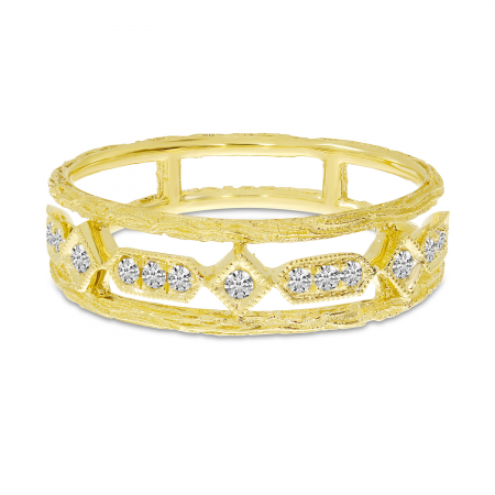 14K Yellow Gold Diamond Brushed Band
