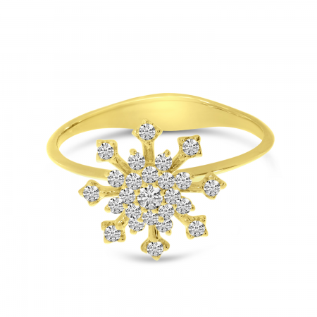 14K Yellow Gold Diamond Snowflake Ring