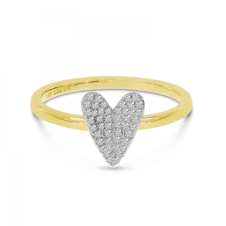 14K Yellow and White Gold Two-Tone Diamond Heart Ring
