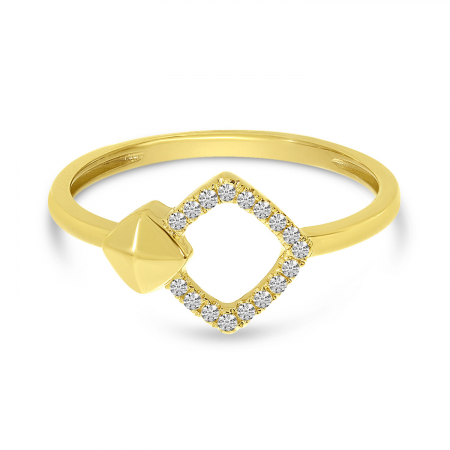 14K Yellow Gold Diamond Open Square Ring