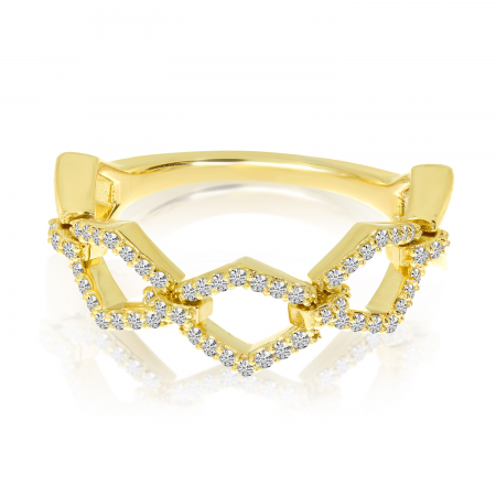 14K Yellow Gold Movable Link Ring