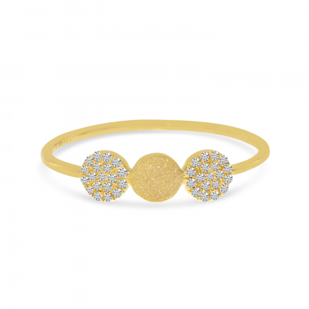 14K Yellow Gold Three Disc Diamond Stackable Ring