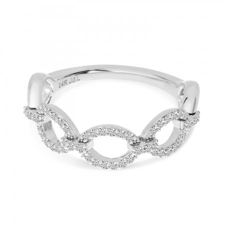 14K White Gold Diamond Link Rolling Ring