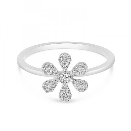 14K White Gold Pave Diamond Flower Ring