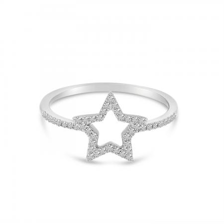 14K White Gold Diamond Open Star Ring