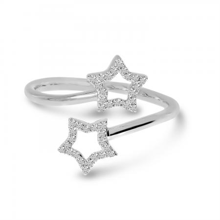 14K White Gold Diamond Star Bypass Ring