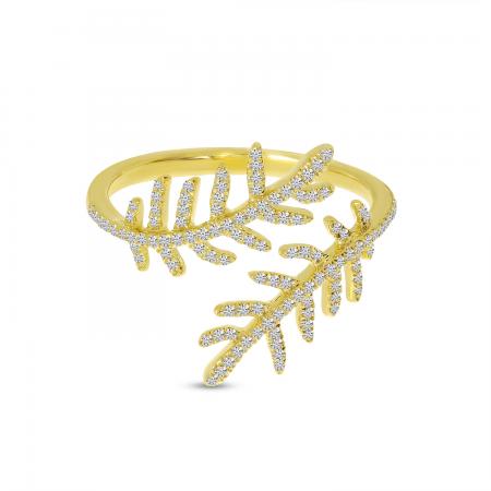 14K Yellow Gold Pave Diamond Flower Ring
