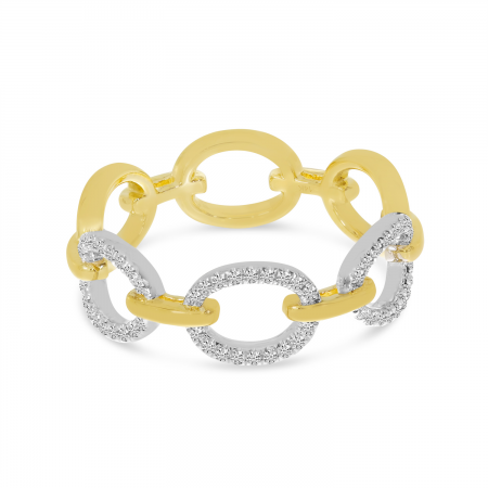 14K Yellow Gold Two-Tone Diamond Link Ring