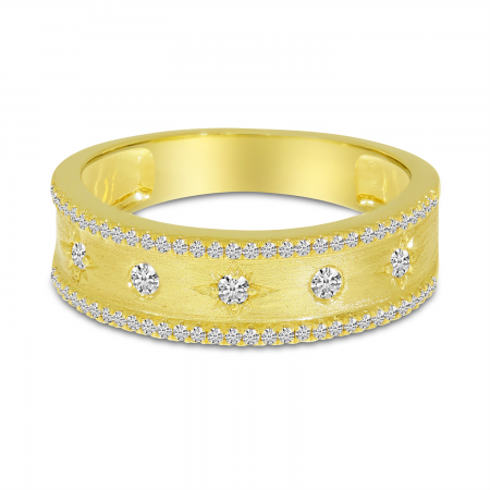 14K Yellow Gold Diamond Celestial Brushed Gold Band