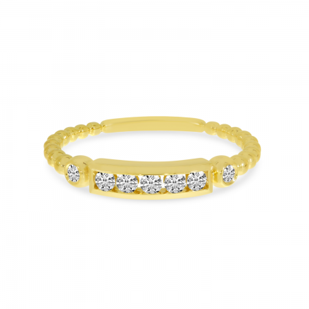 14K Yellow Gold Beaded Diamond Row Ring
