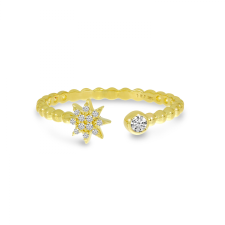 14K Yellow Gold Diamond Starburst Beaded Ring