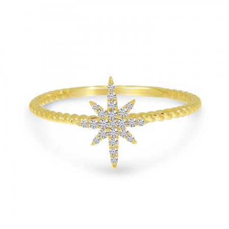 14K Yellow Gold Starburst Twist Band Diamond Ring