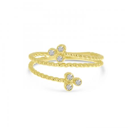 14K Yellow Gold Triple Bezel Diamond Twist Band Ring