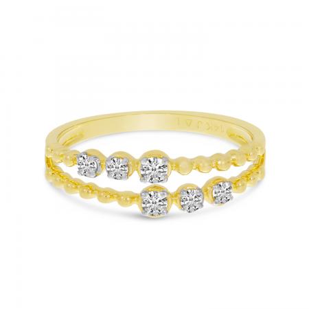 14K Yellow Gold Double Row Diamond Beaded Ring