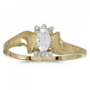 10k Yellow Gold Oval White Topaz And Diamond Satin Finish Ring