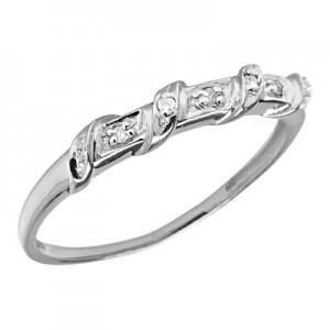 10K White Gold Diamond Band Ring