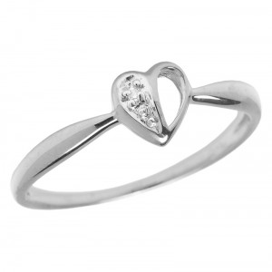 14KT White Gold Diamond Heart Ring
