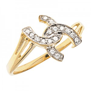 10K Yellow Gold Diamond Horseshoe Ring