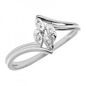 10K White Gold Diamond Leaf Ring