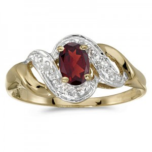 10k Yellow Gold Oval Garnet And Diamond Swirl Ring