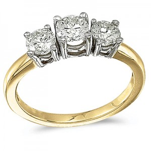 14k Yellow Gold 1.00 Ct Three Stone Diamond Ring