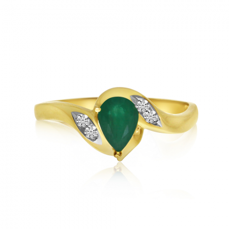 10k Yellow Gold Pear Emerald and Diamond Ring