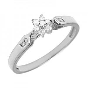 10K White Gold Diamond Cluster Ring