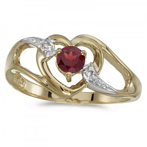 10k Yellow Gold Round Garnet And Diamond Heart Ring
