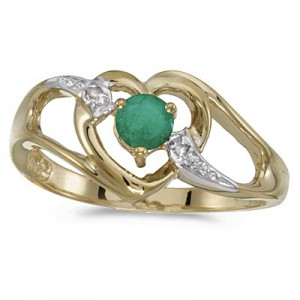 10k Yellow Gold Round Emerald And Diamond Heart Ring