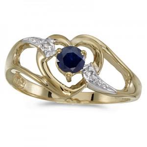 10k Yellow Gold Round Sapphire And Diamond Heart Ring