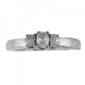 14K White Gold .33 Ct Three Stone Oval Diamond Ring