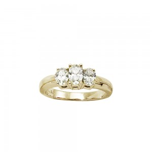 14K Yellow Gold Oval Three Stone 1 ct Diamond Ring