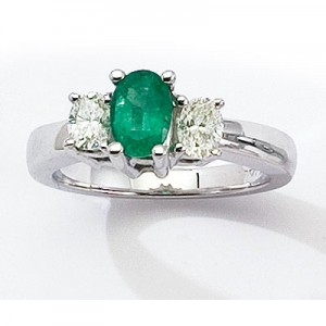 14K Yellow Gold Three Stone 7x5 Oval Emerald and .50 Ct Diamond Ring